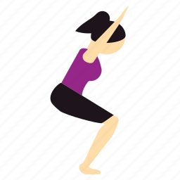 chair, meditation, pose, utkatasana, yoga icon