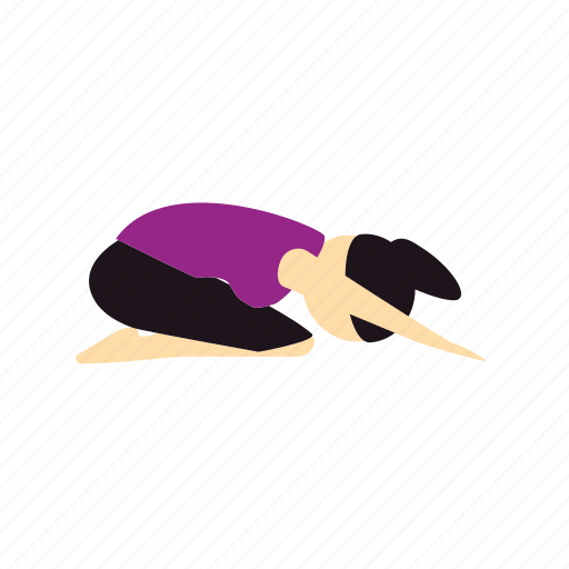 balasana, child, meditation, pose, yoga icon