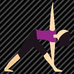 meditation, pose, triangle, yoga icon