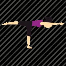 balance, pose, worrior, yoga icon