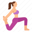 exercise, low, lunge, pose, variation, yoga icon