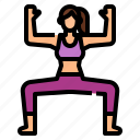 pose, exercise, utkata, goddess, yoga, konasana icon