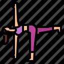 exercise, half, moon, pose, revolved, yoga icon