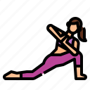 exercise, low, lunge, pose, revolved, yoga icon