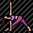 exercise, pose, revolved, triangle, yoga icon