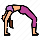 bow, yoga, pose, upward, exercise icon