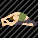 exercise, head, knee, mind, pose, revolved, yoga icon