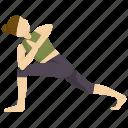 angle, exercise, meditation, pose, revolved, side, yoga icon