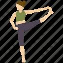 exercise, pose, standing, toe, yoga icon