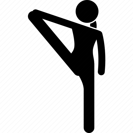 exercise, flexible, one leg, stretching, yoga icon