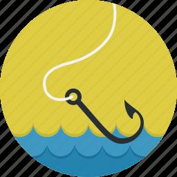 fish, fishhook, fishing, hook, sea icon