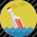 bottle, floating, paper, sea