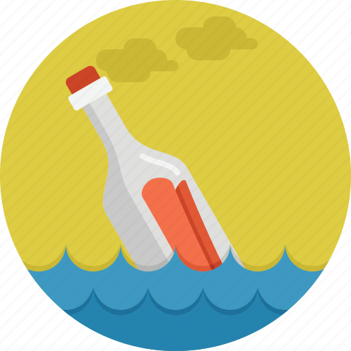 bottle, floating, paper, sea icon