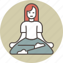 calm, color, meditating, relaxation, sitting, woman icon