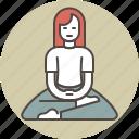 color, meditating, relaxation, sitting, woman, zazen, zen icon