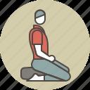 calm, color, man, meditating, profile, sitting, zazen icon