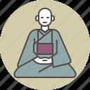 calm, color, front, monk, sitting, zazen icon