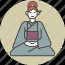 color, female, front, nun, sitting, woman, zazen icon