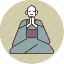 bow, color, gassho, monk, reverence, sitting icon