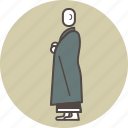 buddhism, color, kinhin, meditation, monk, profile, zen icon