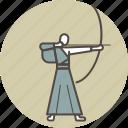 arch, arrow, color, japan, kyudo, man, zen icon