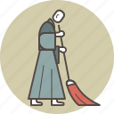 broom, brush, color, dust, meditation, monk, sweeping icon