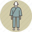color, japanese, man, monk, samu, samue icon