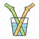 cocktail, drinking, glass, juice, reusable, straw, zero waste icon