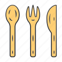 bamboo, cutlery, eco, kitchen, recyclable, reusable, zero waste icon