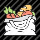 bag, burlap, food, produce, sack, sackcloth, tote