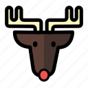 christmas, holiday, reindeer, rudolf, winter, xmas icon