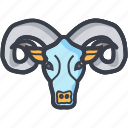 aries astrology, aries zodiac, bull, bull head, zodiac icon