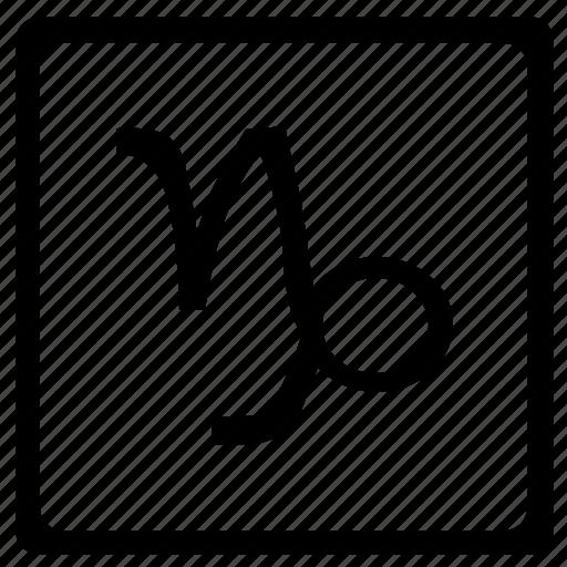 capricorn, sign, square, zodiac icon