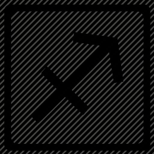 sagittarius, sign, square, zodiac icon