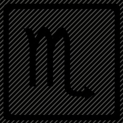 scorpio, scorpion, sign, square, zodiac icon