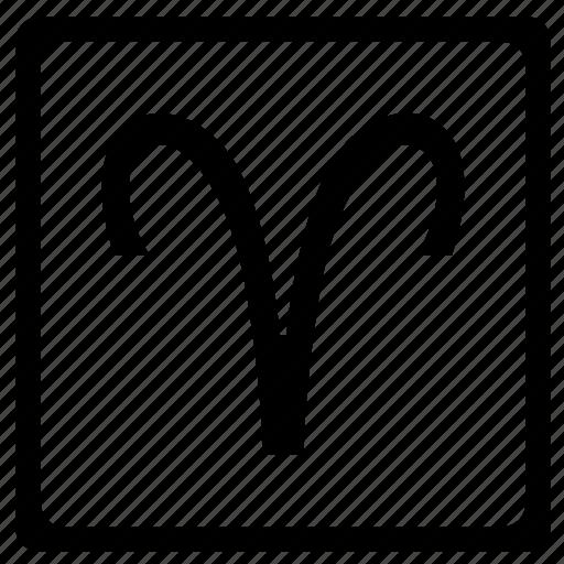 aries, sign, square, zodiac icon