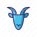 capricorn, horoscope, ibex, line, thin, zodiak icon