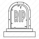 grave, headstone, line, outline, rip, thin, tombstone icon