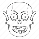horror, line, monster, outline, skull, thin, zombie icon