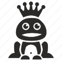 crown, frog, queen, smile, toad icon