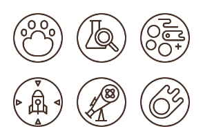 36 Science Badge pixel perfect outline modern and clean design