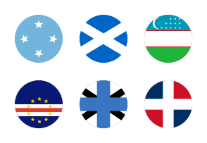 50 Flags of the world,  circular shape