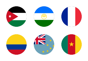 20 Flags of the world, circular shape