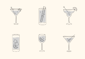 Alcohol drinks and cocktails flat set