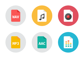 Audio Files Icons - Rounded