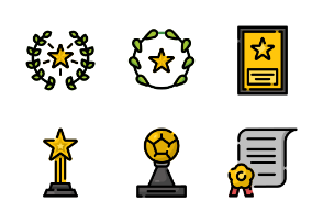 Award Set with Flat Color and Dashed line style