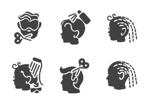 Barber services in glyph style