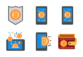 Bitcoin and Cryptocurrency flat style