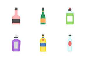 bottle and beverage color icon