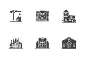 Buildings. Glyph. Silhouettes